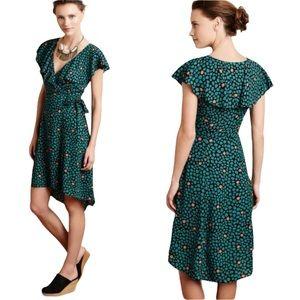 Anthropologie HD in Paris Black Green Floral Faux Wrap Dress - 4